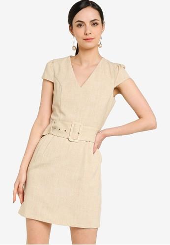 ZALORA WORK beige Cap Sleeve Mini Dress D399BAA1BF4880GS_1