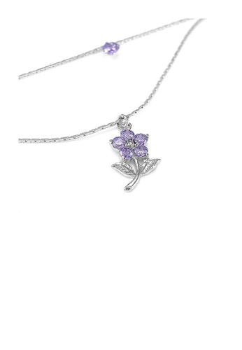 Glamorousky purple Elegant Flower Anklet with Purple Austrian Element Crystals 935F5AC18786C5GS_1