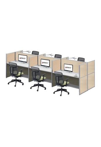 AMERCIS white Amercis Stamford 1200L Workstation for 6 7B142HLB30E61CGS_1