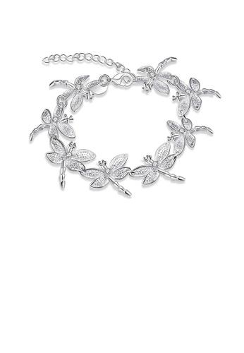 Glamorousky silver Elegant Dragonfly Bracelet with Austrian Element Crystal 42926AC9810ED0GS_1