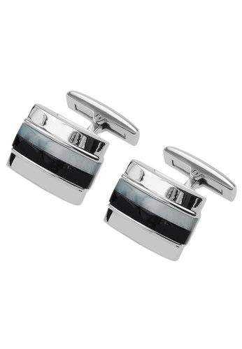 CUFF IT multi Stainless Steel Mother of Pearl and Onyx Stripes Cufflinks CU047AC30OIBHK_1