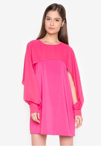 Chloe Edit pink Round Neck Sheer Dress CH672AA0J9CBPH_1