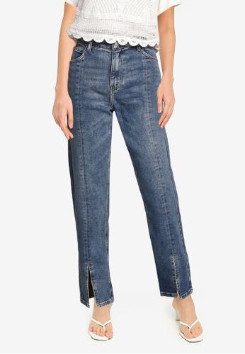 URBAN REVIVO blue Cotton Slit Hem Jeans F2530AACD0DDB3GS_1
