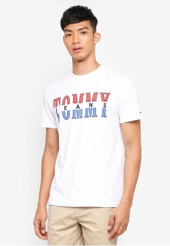 Tommy Hilfiger white TJM SPLIT LOGO TEE B7A2DAA4D85166GS_1