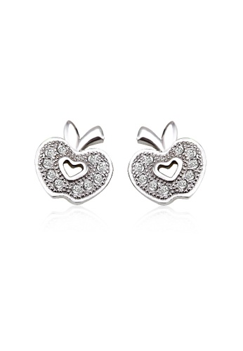 OUXI silver OUXI 925 Sterling Silver Apple Earrings OU821AC79UUQMY_1