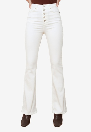 Trendyol white Button Front High Waist Flare Jeans 51823AAFDFA90BGS_1