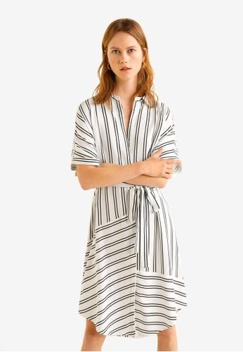 Mango white Mixed Striped Dress 6D496AA9293D44GS_1