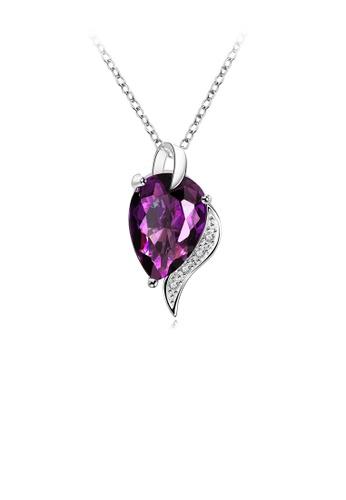 Glamorousky purple Elegant Noble Water Drop-shaped Purple Cubic Zircon Pendant with Necklace 56F60AC40D1CE1GS_1