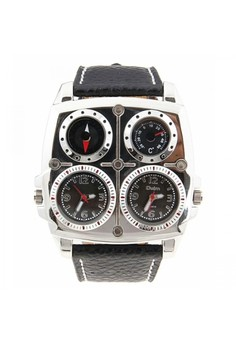 Oulm Square Oversize Multi Dial Time Zone Compass Watch - Black
