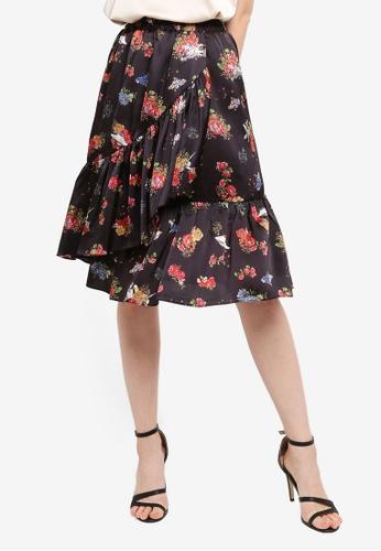 Hopeshow black Floral Print Midi Ruffle Skirt 0A623AA8932A14GS_1