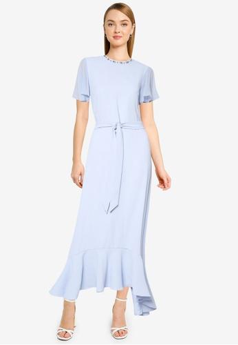 Dorothy Perkins blue Blue Embellished Flutter Maxi Dress 5CBBCAA219C1D1GS_1