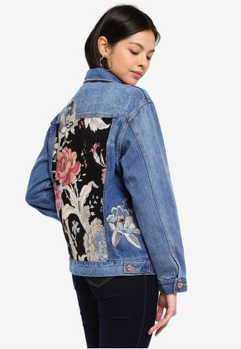 ONLY blue Caroline Flower Embroidered Denim Jacket 62A5EAA5E1DE0CGS_1