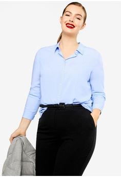 4a43e7dad1b991 Violeta by MANGO blue Plus Size Flowy Shirt EA9C9AAA79FD42GS 1