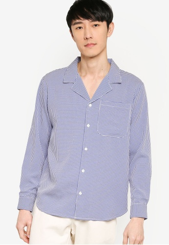 ZALORA BASICS multi Gingham Seersucker Camp Collar Shirt DA822AABC923A8GS_1
