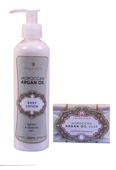 Moroccan Argan Oil Body Lotion 250ml with Moroccan Argan Oil Mangosteen Whitening Soap 135g Bundle