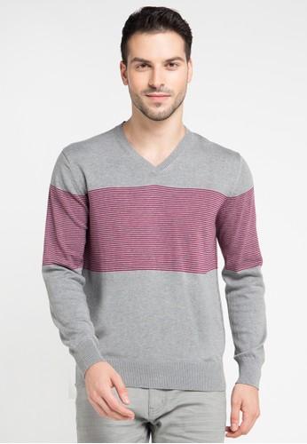 Noir Sur Blanc multi and grey Mens Vneck Stripe Long Sleeve NO321AA0VRHQID_1