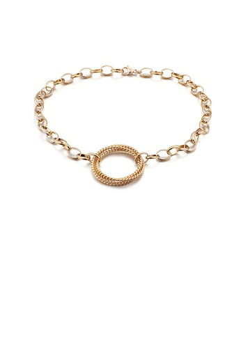 Glamorousky silver Fashion Simple Plated Gold Twist Geometric Circle 316L Stainless Steel Necklace A24F4ACC8A66C9GS_1