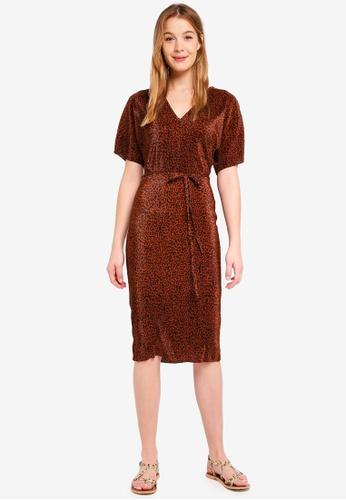 River Island brown Kimmy Plisse Kimono Dress 0FD62AA8820179GS_1