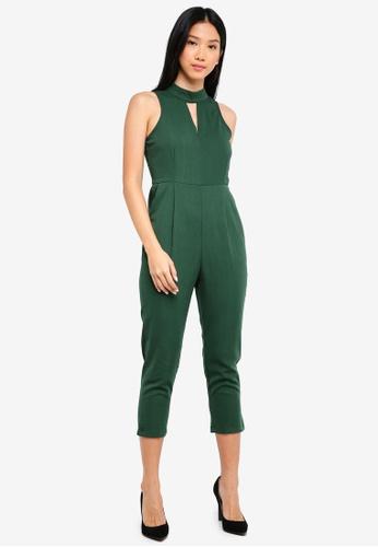 ZALORA green Keyhole Neck Jumpsuit 3D007AAD5F43DCGS_1
