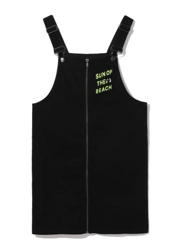 Mini cream black Full zip dungaree dress 409C1AA4CC324BGS_1