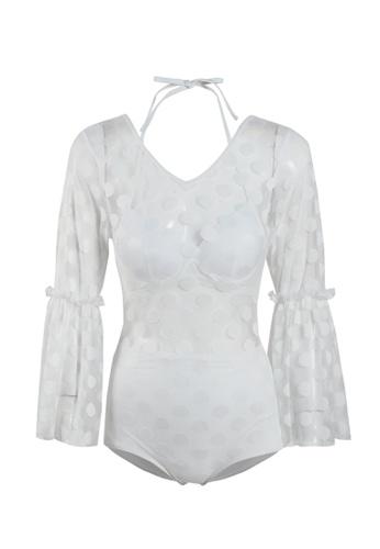 Its Me white Sexy Gauze Polka Dot One-Piece Bikini Swimsuit 55D7FUS930A2A7GS_1
