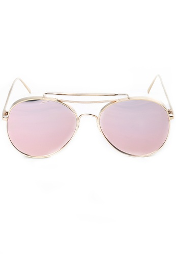 Amora Scarlett Aviator Thick Chrome Rose Gold Frame Pink Reflective Transition Lens Eyewear AM058AC66MVHMY_1