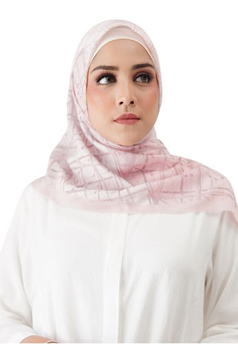 Buttonscarves pink Buttonscarves Louvre Voile Square Rose 757F4AA8DC8EAFGS_1