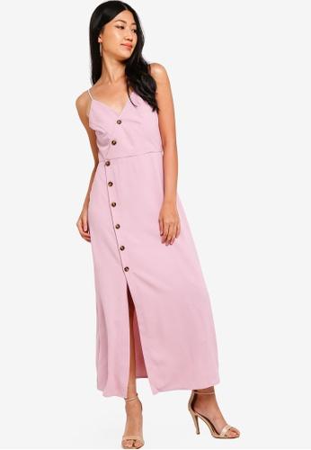 ZALORA pink Button Detail Wrap Maxi Dress 90DBBAA9E3693AGS_1