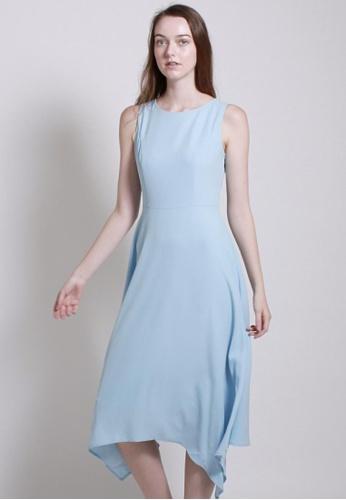 QLOTHE blue Storied : Asymmetric Hem Flare Dress F25D0AA1B8B12DGS_1