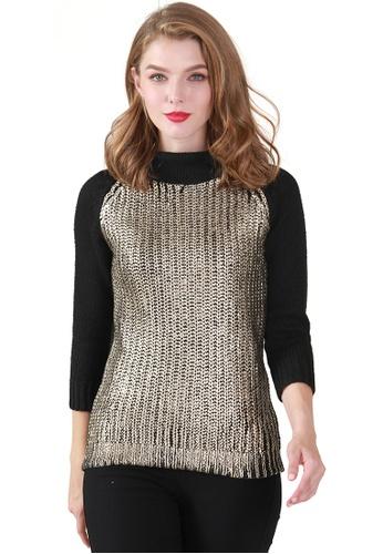 London Rag black Scarlett Metallic Print Knit Sweater CCF65AAF547F9DGS_1