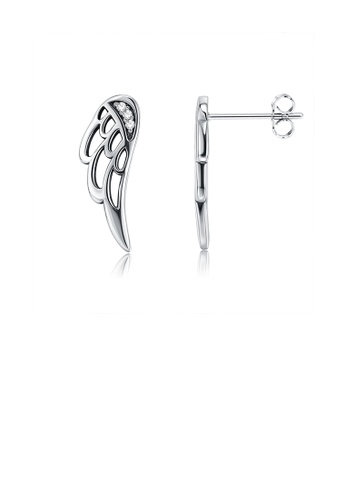 Glamorousky white 925 Sterling Silver Fashion Angel Wing Stud Earrings with Austrian Element Crystal 91A36AC89CE0BEGS_1