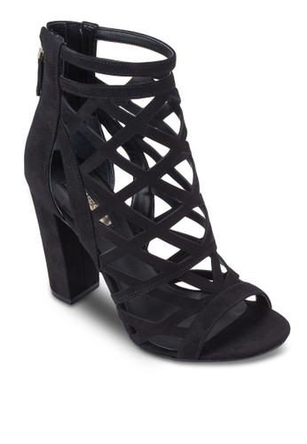 Eriel-A zalora 泳衣鏤空露趾粗跟踝靴, 女鞋, 鞋