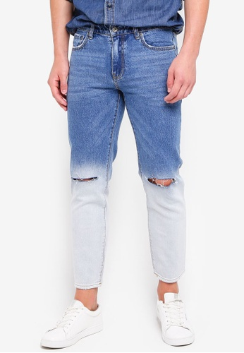 MANGO Man 藍色 刷破牛仔褲 77924AAF5F49D4GS_1