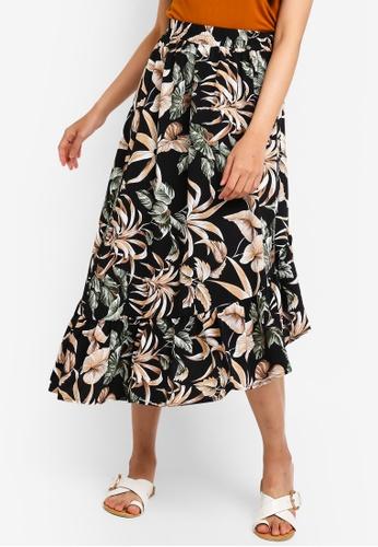 Something Borrowed black Printed Asymmetric Skirt 46234AAA1D73C9GS_1