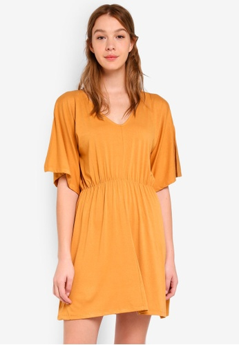 Cotton On yellow Reina V Neck Fit Flare Dress A8C2BAA27D4668GS_1
