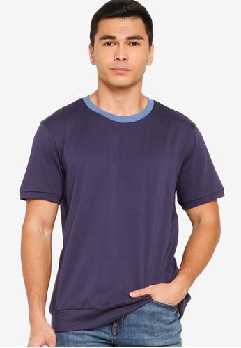 ZALORA BASICS blue Contrast Collar Knitted T-Shirt B91D9AA87C330EGS_1