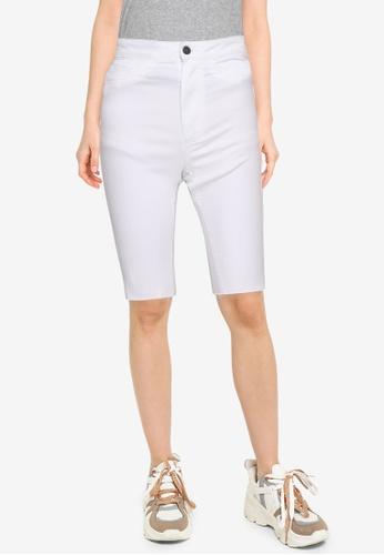 Noisy May white Callie High Waist Shorts B9D0FAADF49DDFGS_1