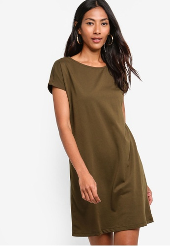 ZALORA BASICS green Basic Jersey T-Shirt Dress 450F1AAB36786CGS_1