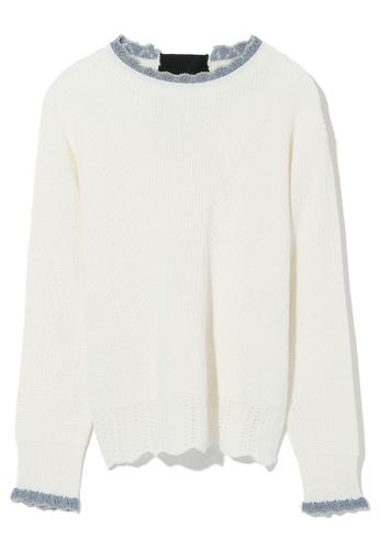 b+ab white Scallop lace trim knit sweater F9427AA7D4B21FGS_1