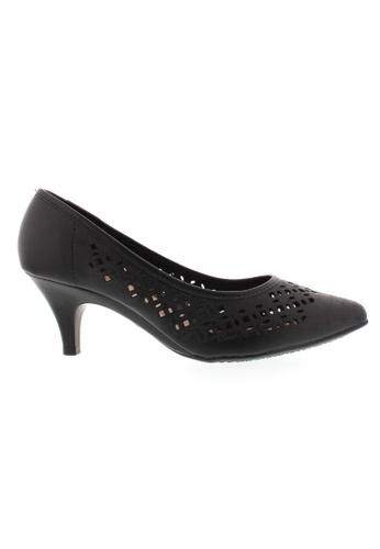 Beira Rio black Cut Out Design Kitten Heeled Shoes BE995SH75ZIUHK_1