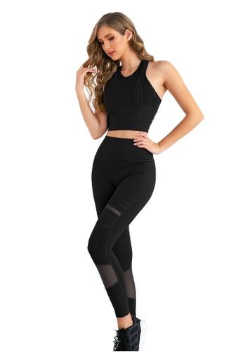 B-Code black ZUU3041-Lady Quick Drying Running Fitness Yoga Leggings-Black 8071EAAD62B351GS_1