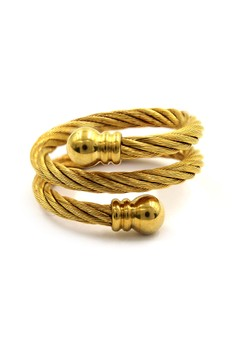 Gold Double Twist Cable Wire Ring Round Gold End
