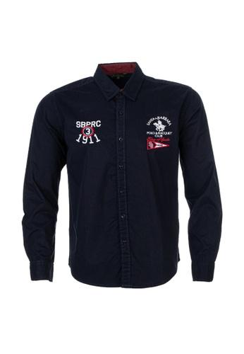 Santa Barbara Polo & Racquet Club navy SBPRC Long Sleeve Shirt 05-9302-93 2AB7AAA78E94FCGS_1