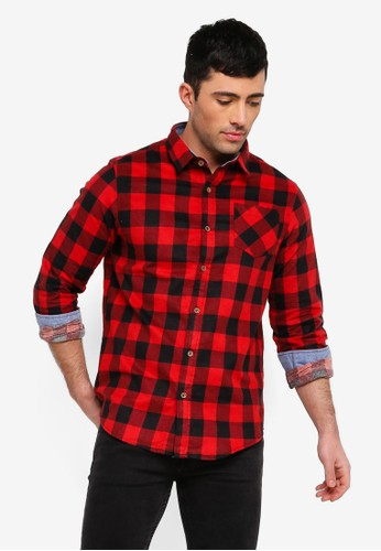 Brave Soul red Heavly Brushed Check Shirt F0C03AAAF6E7CAGS_1