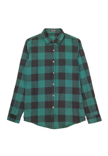DRUM black and green Checked Long Sleeve Shirt- Green 930C7AA944357AGS_1