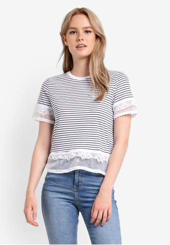 TOPSHOP white Stripe Dobby Trim T-Shirt TO412AA04AXZMY_1