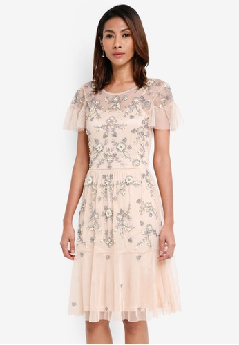 Miss Selfridge beige Lola Pearl Embellished Dress AD035AAC14E0ADGS_1