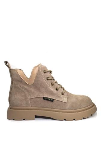 Twenty Eight Shoes 米褐色 VANSA 型格磨沙牛皮馬丁靴 VSW-B301 61E19SH1BBD61BGS_1