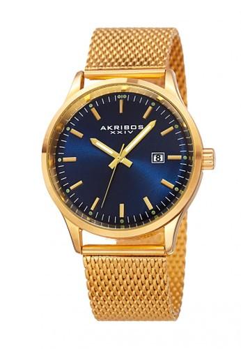 Akribos XXIV gold Akribos XXIV Men's Bracelet Watch Yellow Gold Blue AK901-YGBU AK522AC18QKFID_1