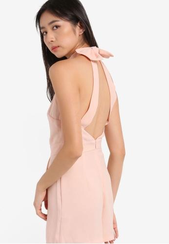 Miss Selfridge pink Premium Bow Back Playsuit MI665AA71BFCMY_1